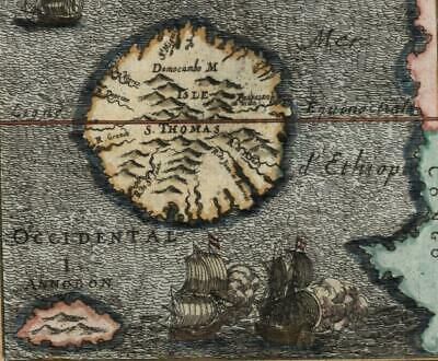 Africa Guinea coast island St. Thomas Sao Tome 1719 old Mallet map decorative