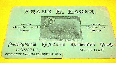 Antique Late 1800's Business Card-Registered Rambouillet Sheep-Howell,michigan