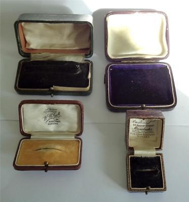 ANTIQUE LEATHER JEWELLERY BOX x 4 BROOCH RING WATCH NECKLACE BOXES