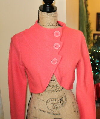 Vintage Short 100% Merino Wool Peach Color Small Sparrow Brand Jacket, Buttons