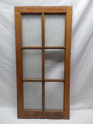 Antique Oak 6-Lite Window Sash Privacy Glass Casement Vtg 462-18P