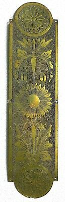 Cast brass Aesthetic Movement door plate with sunflowers -  Rd. 84120 for 1888