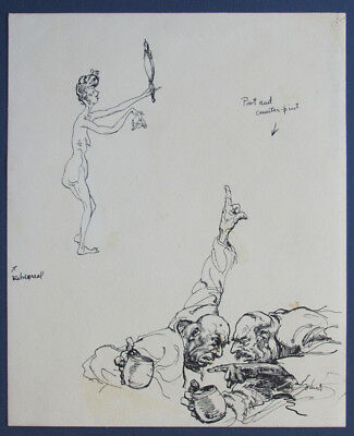 Coppin John S Illustration Cartoon Satire Drawings Circa 1950 S