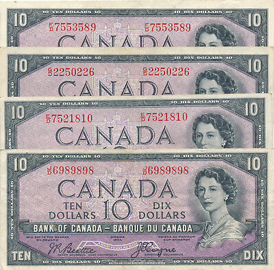Bank Of Canada Lot Of 4 Devil's Face 10 Dollars 1954 Different Prefixes