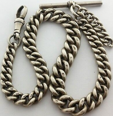 Superb Antique Hallmarked Solid Silver Albert Pocket Watch Chain