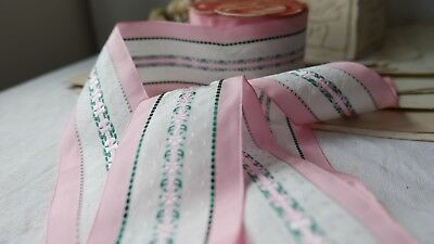 Vintage Pink Ribbon Floral Satin Tape 250cm Millinery Flowers & Bouquets NOS