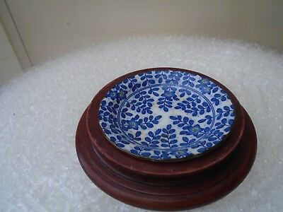 very unusual small japanese dish  rare blue & white pattern  with wooden stand