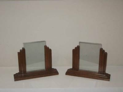 Set of 2 Art Deco Stepped Wooden Oak Picture Frames for Mantle, Table or Shelf