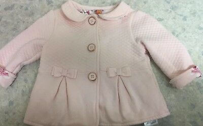 Ted Baker Baby Girl Light Pink Quilted Bow  Jacket Coat 3 - 6 Months