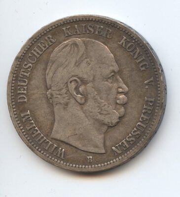 Germany Prussia 1875B 5 Mark Kaiser Wilhelm Silver Coin