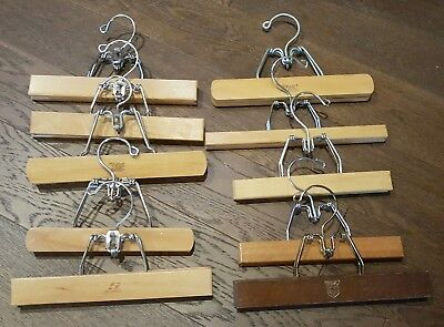 """12 Assorted 9"""" to 10"""" Wooden Pant or Skirt Hangers Vintage and Very Nice"""