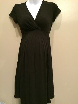 Motherhood Maternity Small Blk Nursing Dress With Tiebacks