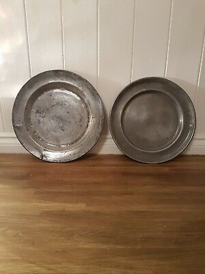 Antique Pewter Charger, Plates. TouchmarksLOOK very old