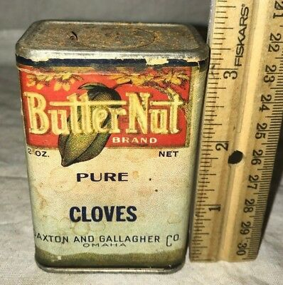 Antique Butter Nut Cloves Spice Tin Vintage Paxton Gallagher Omaha Ne Can Grocer