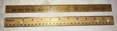 Antique Lake Shore Garden Flower Seed '7 Wright Remedy Medicine Wood Ruler Sign