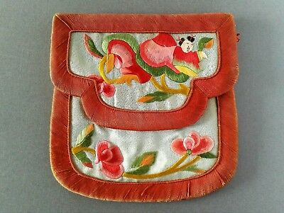 Rare Antique Chinese Figural Hand Embroidered Silk Textile Coin Purse Pouch