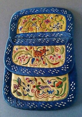 Rare Antique Chinese Hand Embroidered Silk Purse Butterfly Tiger Flowers & Birds