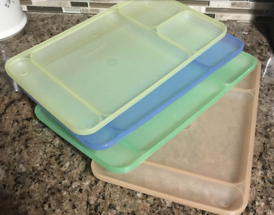 Tupperware Divided Tv Dining Trays Set 15 X 9 Impressions Sheer Pastels New