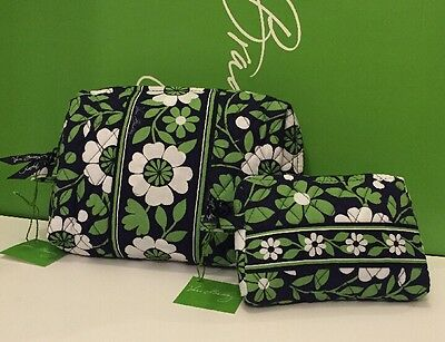 NWT Vera Bradley Travel LARGE & SMALL Cosmetic Bags SET In Lucky You Green White