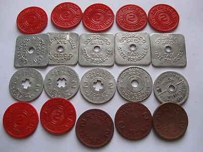 Lot of 20 Tax Tokens - Colorado, Oklahoma, Washington State