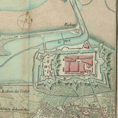Calais Fort Nieulay miniature 1762 Bonne old map France charming hand colored