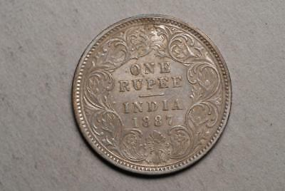 India British 1887 One Rupee Silver Coin AU About Uncirculated (23F)