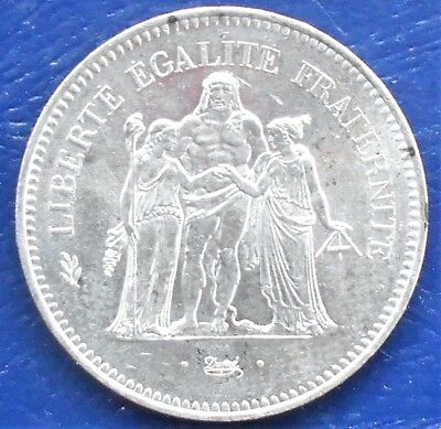 .900 Silver 1977 France 50 Francs KM#941.1 Hercules  Type Large 41mm Nice # 740