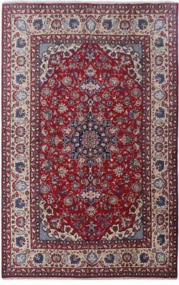 large Isfahan Rug Hand-Knotted Red 11x17 Persian Traditional Rug