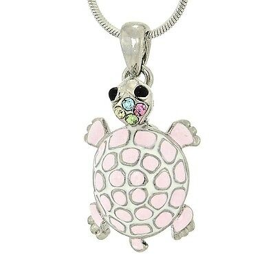 "TURTLE W Swarovski Crystal Pink Enamel Pendant Sea Ocean Necklace 18"" Chain"