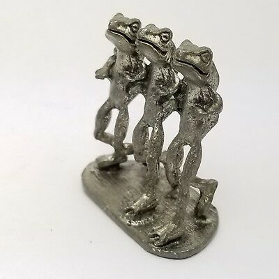 Pewter 3 Frog Statue Figure Incense Burner Stick Holder Sttnd 1996 Vtg Figurine