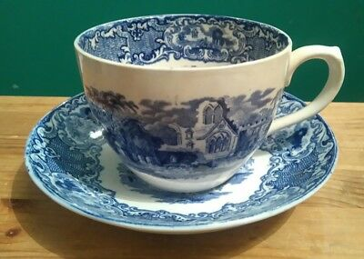 George Jones & Sons Large Breakfast Cup and Saucer in the Abbey 1790 Pattern