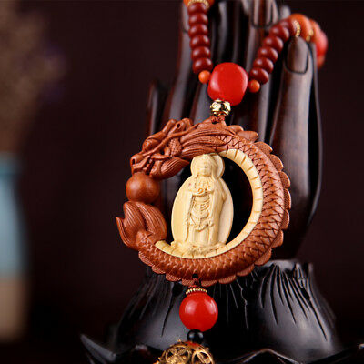 Box-Wood Carved Chinese Avalokitesvara Guanyin Kwan-yin Dragon Beads Car Pendant
