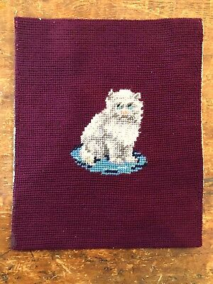 Charming antique cat kitten wool needlepoint tapestry, pillow top