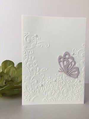 Handmade Embossed Butterfly Birthday Wedding Blank With Sympathy Greeting Card