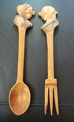 Lot 2 Folk Art Wood Carved Man and Woman Spoon and Fork-Hand Painted Faces