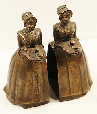 """Vintage Pair Cast Iron Victorian Lady Woman Bookend Figurine Heavy 6"""" Tall"""