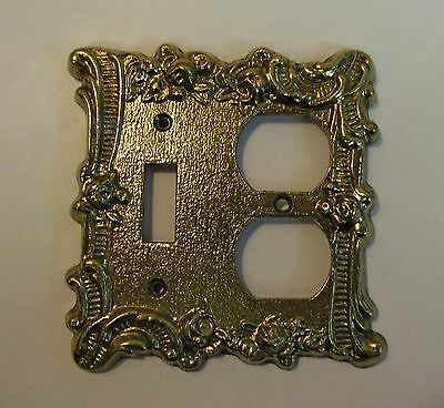 """*** Vintage """"Charm-n-Style"""" Brass Finish """"Floral Scroll"""" Combo Switch Cover ***"""