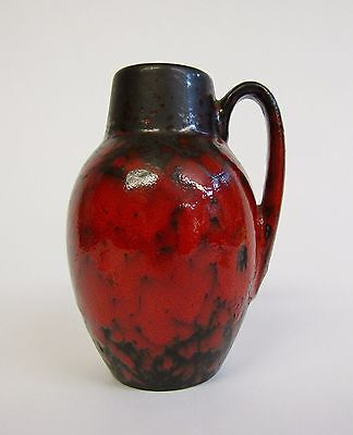 * Vintage * Scheurich 414-16 * Gloss Red * Fat Lava Vase * West German Pottery *