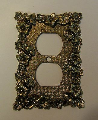 """*** Vintage """"Charm-n-Style"""" Antique Brass Finish Floral Outlet Cover ***"""