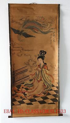 Old Scroll Chinese Ink And Wash Painting/Flute Beauty & Phoenix  ZH1004