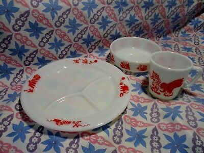 Vintage Pyrex Red Childs Circus Divided Plate, Bowl, & Cup in Excellent Cond.