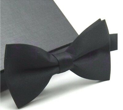 New Tuxedo PreTied Black Bow Tie Satin Matching Adjustable Band  US SELLER
