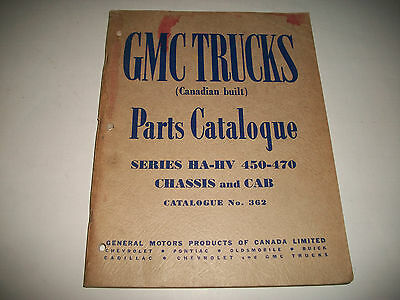 1952 Gmc Truck Ha-Hv 450-470 Chassis & Cab Parts Catalog Canadian Built