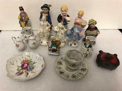 Vintage Lot 17 piece Made in Occupied Japan  ceramic figurines + metal box etc