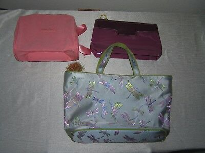Used Lot of 3 Estee Lauder Purple Lancome Pink & Asian Green Silk w Dragonflies