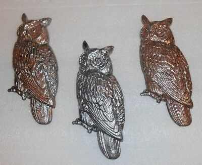 "3 Metal Owls- Wall Decor/figurines- Owls about 5"" tall- Nice details"