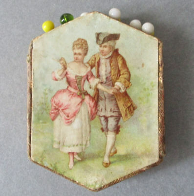 Antique Small GERMAN Toilet PIN Holder Cube 6-Sided LITHO French Courting Couple