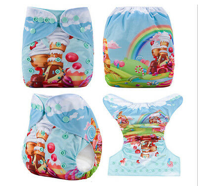 Modern Cloth Reusable Washable Baby Nappy Diaper & Insert, Candy Land
