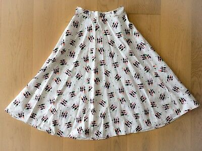 Vintage 1950s Artist Paint Brush Novelty Print Cotton Full Skirt - small