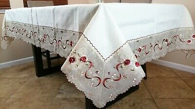 """White Vintage Style 100% Cotton Handmade Crochet Lace 54x72"""" Tablecloth"""